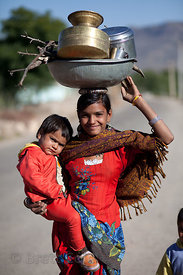 Girl and her sister in the rural village of Kharekhari, Rajasthan, India