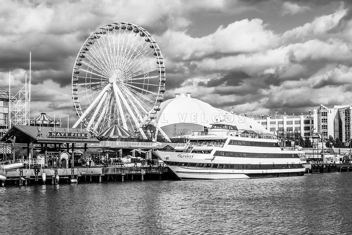 Chicago Navy Pier Black and White Photo