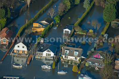 Aerial view of flooding in Surrey, United Kingdom