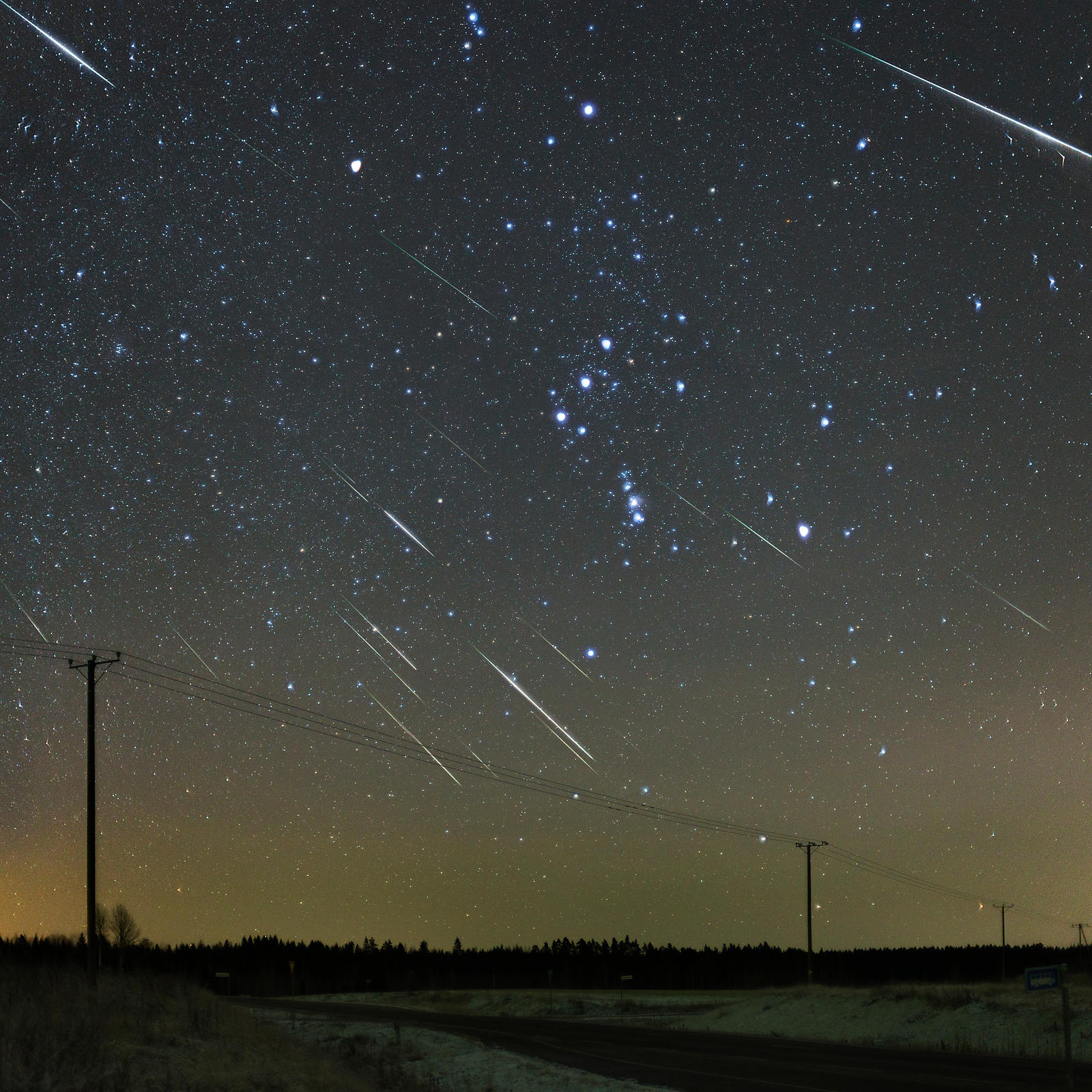 Half an hour of Geminids. 24 Geminid meteors are captured in this composite taken on December 14 2015 in rural Southern Finla...