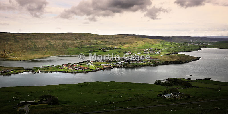Looking east over Weisdale Voe to the village of Hellister and Loch of Hellister behind, Central Mainland, Shetland - 2:1 for...