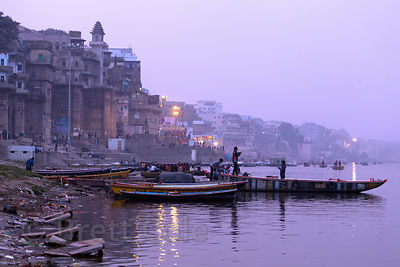 Dusk view looking north along the ghats and the Ganges River, Varanasi, India.