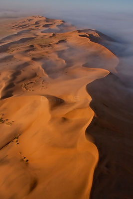 Aerial of fog over the Namib Desert, Namibia, September 2011.