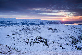Loughrigg fell and Windermere at Sunrise, Lake District National Park