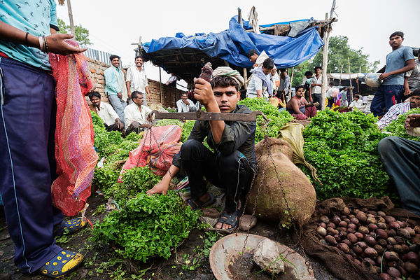 Seller Weighing Mint at Wholesale Market