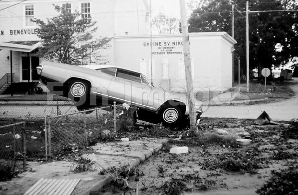 Wrecked car after Hurricane Camille, 1969