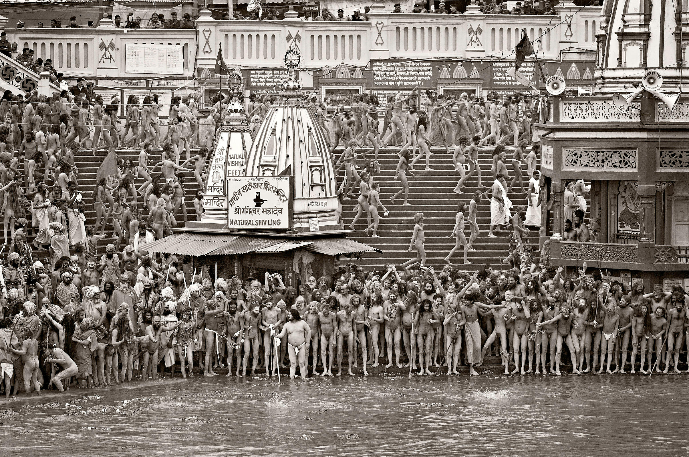 Saints line up just before the holy dip in the Ganges in Allahabad during the Kumbh Mela