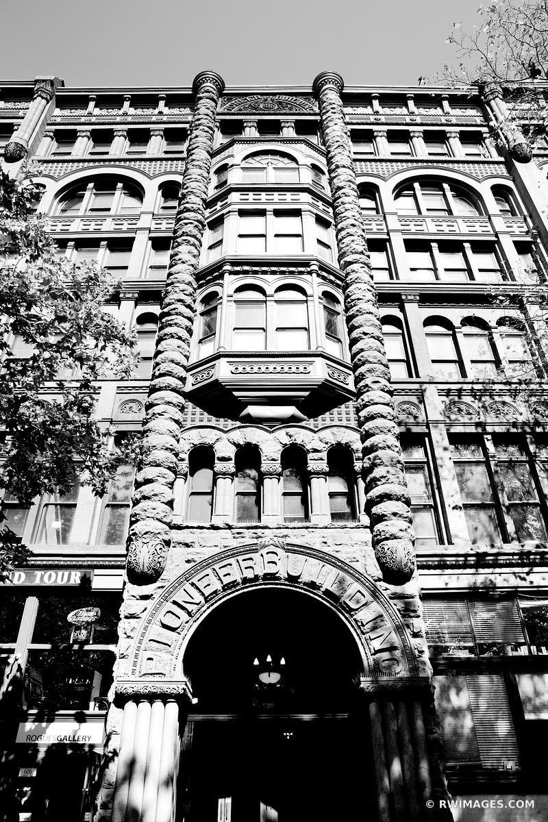 PIONEER BUILDING HISTORIC SEATTLE BLACK AND WHITE