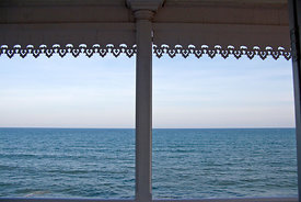 The Indian Ocean framed by an architectural feature on the Promenade