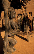 Dogon carving on one of the 8 posts of the togu na, meeting place for elders, Ende village,  Dogon Country, Mali