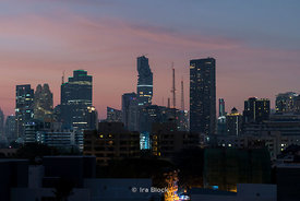 A view of Bangkok's skyline with MahaNakhon Building.