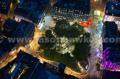 Night aerial view of Leciester Sqaure, London