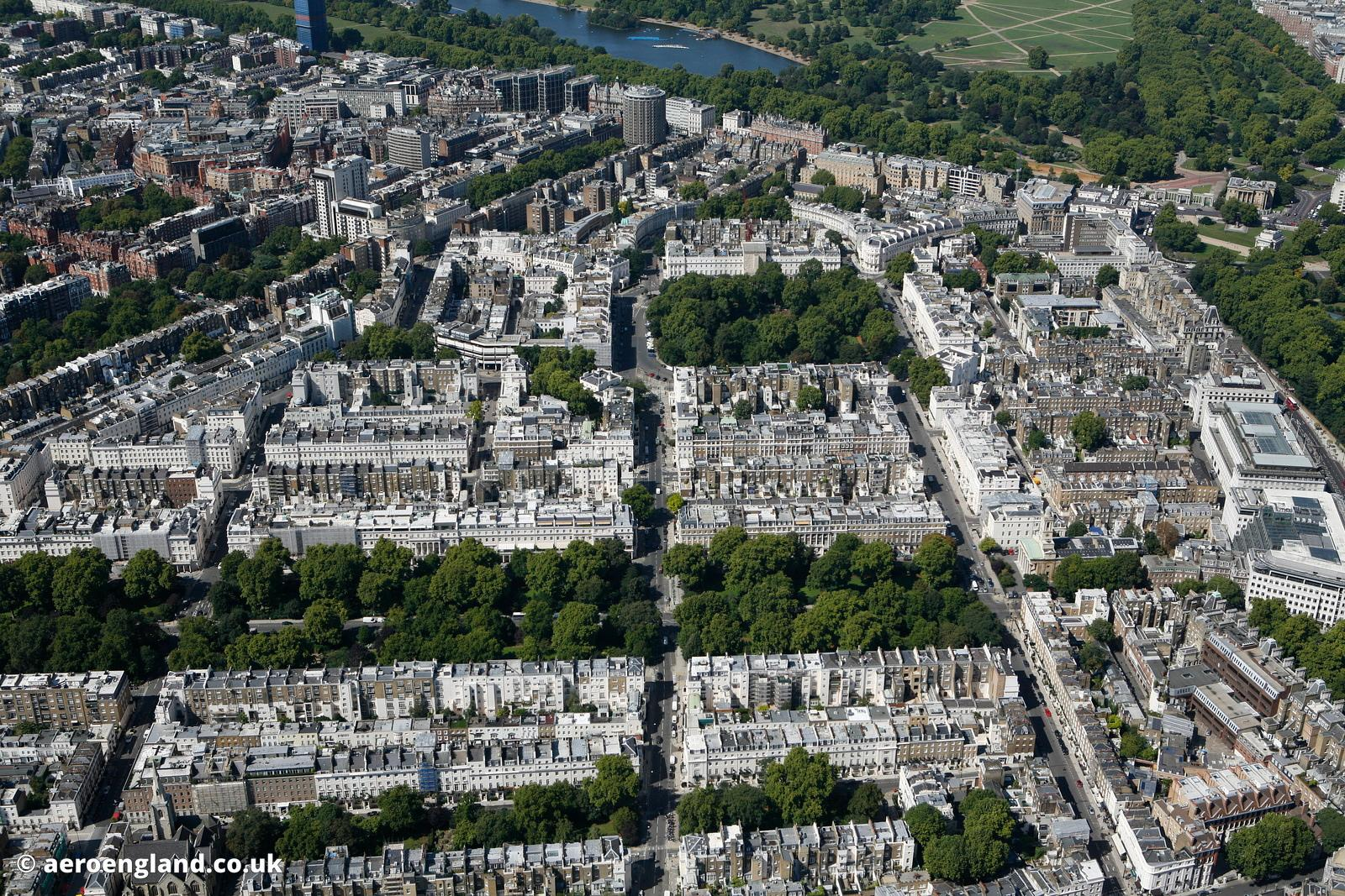 aerial photograph of Belgravia London England UK showing Eaton Square, London SW1W 9AN , St Michael's Church Chester Square, ...