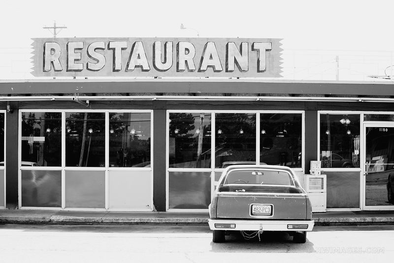 ROUTE 66 RESTAURANT BLACK AND WHITE