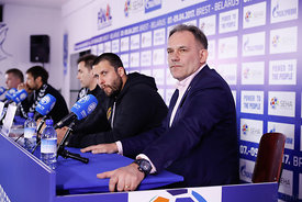 Stojanche Stoilov and Sinisa Ostoic during the Final Tournament - Final Four - SEHA - Gazprom league, Press conference in Bre...