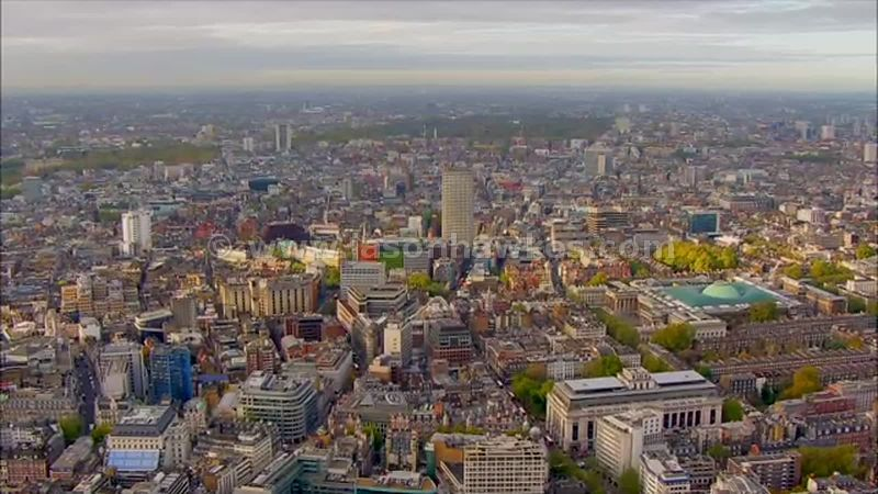 Aerial footage over Bloomsbury and Soho, London
