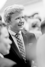 Young Nordic boy in suit and bluish tie 2 (black/white picture)
