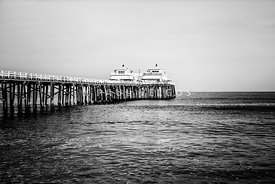 Malibu Pier Black and White Picture in Malibu California
