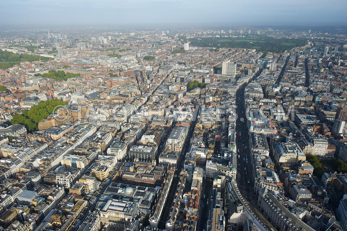 Aerial view of the West End, London
