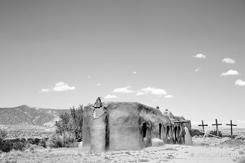 OLD CHURCH AND THREE CROSSES ABIQUIU NEW MEXICO NORTHERN NEW MEXICO BLACK AND WHITE