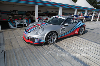 Celebrating 45 years of Martini Racing and 50 years of the Porsche 911 - 911 GT3 Cup in the Martini garage - Goodwood Festiva...
