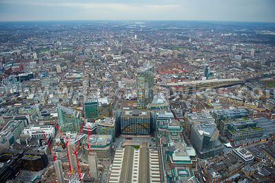 Aerial view of Liverpool Street Station looking towards Shoreditch, London