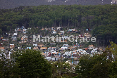 Shanty town built on the hillside above Ushuaia, Tierra del Fuego, Argentina
