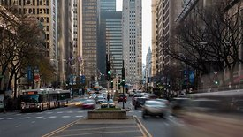 Medium Shot: Rush Hour Down Michigan Avenue