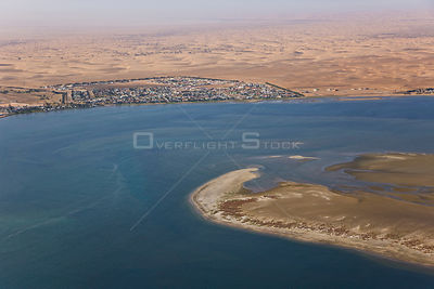 Aerial view of Walvis Bay and atlantic coast, Namibia, Africa, August 2008