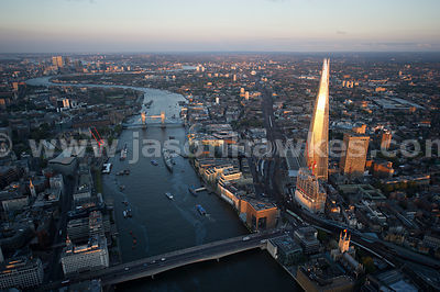 London. Aerial view of the Shard and the River Thames