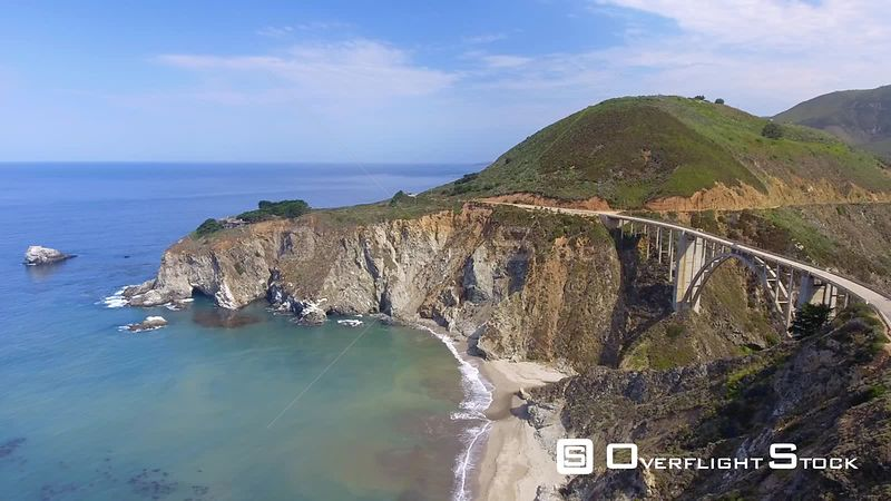 Bixby Bridge Big Sur Coastline Drone Video California USA
