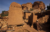 Granaries are dotted around a Dogon village, Songo, Dogon Country, Mali