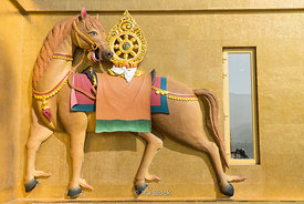 A decoration of a horse on pedestal Buddha Dordenma, a golden great buddha in Thimphu, Bhutan.