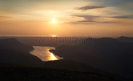 Sunset over Ennerdale Water In the English Lake District, UK.