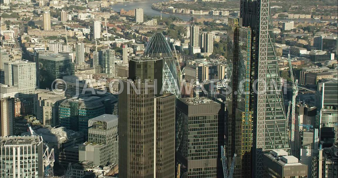 London Aerial Footage of Leadenhall Building and city skyline