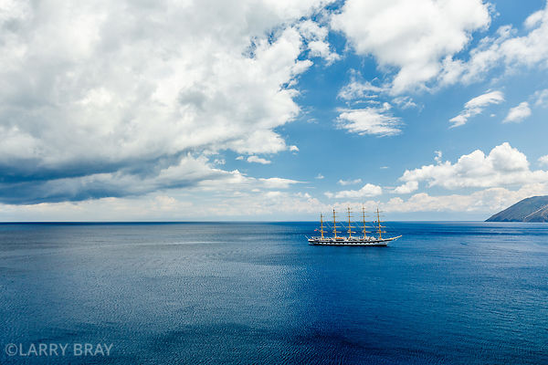 Royal Clipper tall sailing ship moored off Lipari Italy