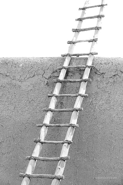 LADDER TO THE SKY SAN LORENZO CHURCH PICURIS PUEBLO NEW MEXICO BLACK AND WHITE VERTICAL