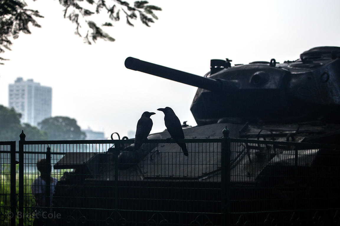 A tank on the Maidan, Kolkata, India. The tank is a reminder of the horrrors of war.