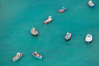 Aerial photograph of fishing boats near Struisbaai, Western Cape Province, Indian Ocean, South Africa, August 2010