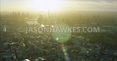 London Aerial Footage of St James's towards City of London and River Thames.