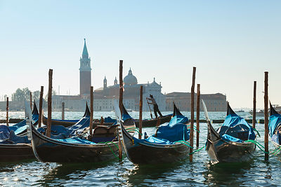 Italy, Venice, Gondolas docking at St Mark's Square