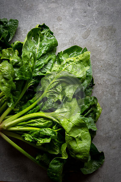 Fresh Spinach over grey concrete background