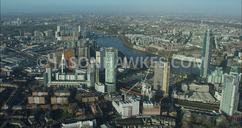 London Aerial footage, Nine Elms redevelopment.