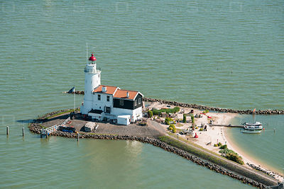 The Paard van Marken Lghthouse on the Dutch peninsula Marken, on the IJsselmeer Netherlands