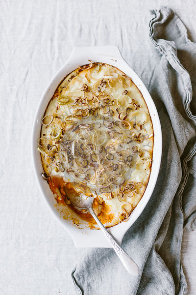 Double Layered Potato Casserole with Crispy Leeks