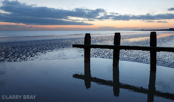 Reflections in water just after sunset                                                                     Shoreham-by-Sea, W...