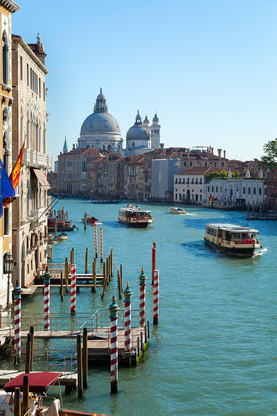 Italy, Venice, View of Canal Grande at Santa Maria della Salute church