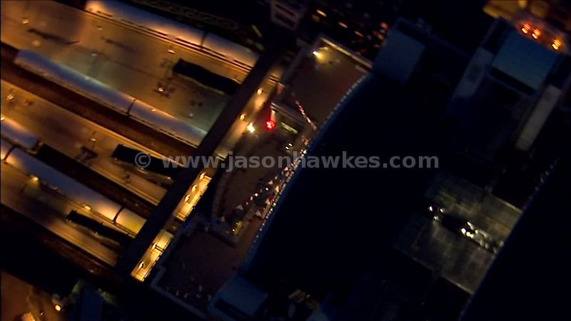 Aerial footage over London Charing Cross Station at night, London, England, UK