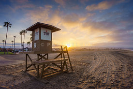 Newport Beach Lifeguard Tower B Sunrise Photo