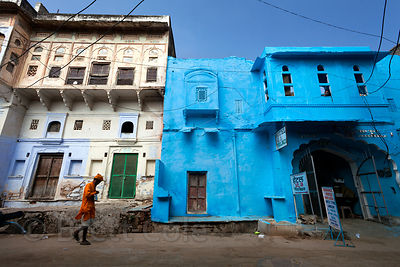 Striking blue house in Pushkar, Rajasthan, India